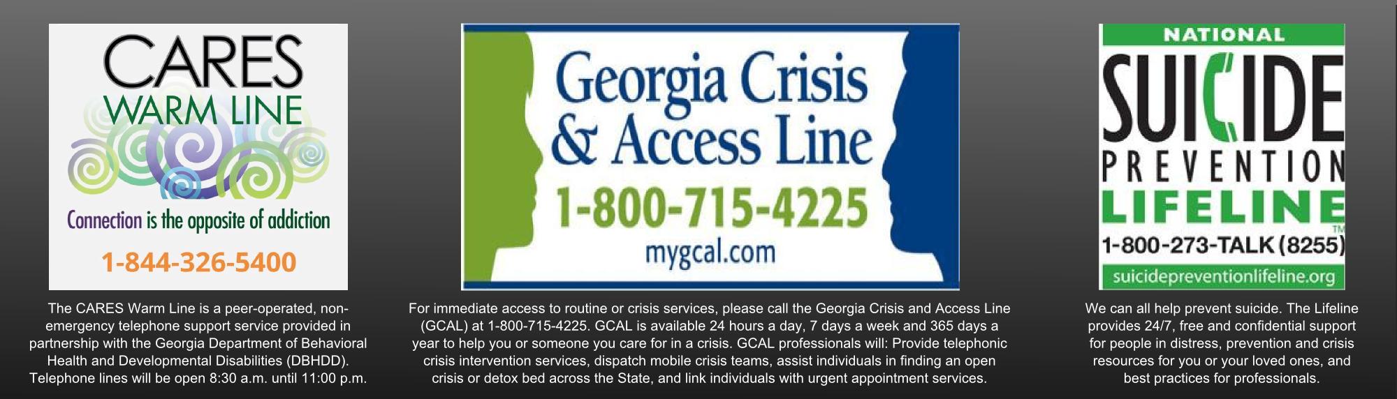 Georgia Crisis Help Lines